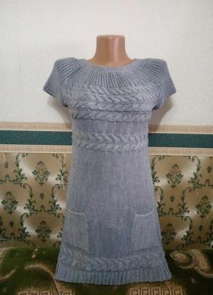 Платье серое женское жіноче вязаное туника без рукавов с карма...