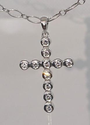 Крестик хрестик  діамант бриллиант на 0,30 ct белое золото 585