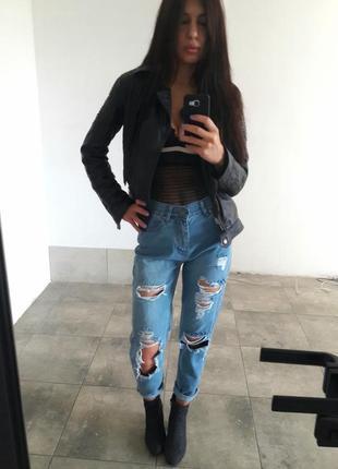 Рваные джинсы в стиле 90х высокая талия