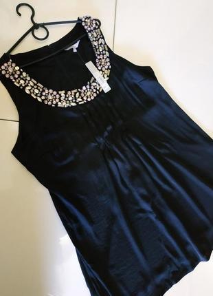 Платье туника чорная с камнями