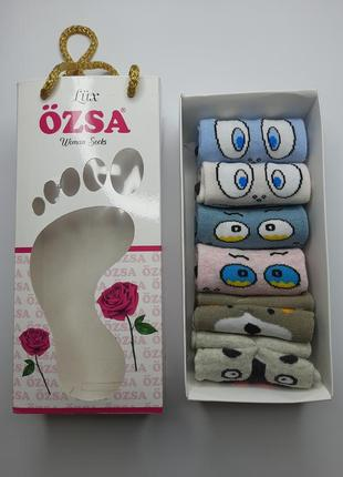 Носки женские короткие набором с 6 пар в подарочной упаковке т...