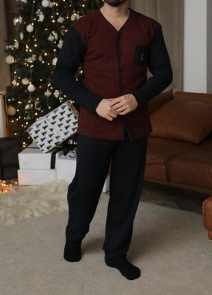 Хлопковый мужской домашний костюм.натуральная пижама рубашка и...