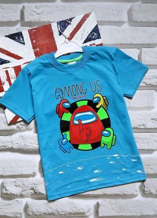 Трикотажные футболки among us для мальчиков 7-12 лет