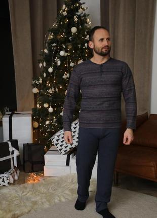 Хлопковый мужской домашний костюм.натуральная пижама кофта и...