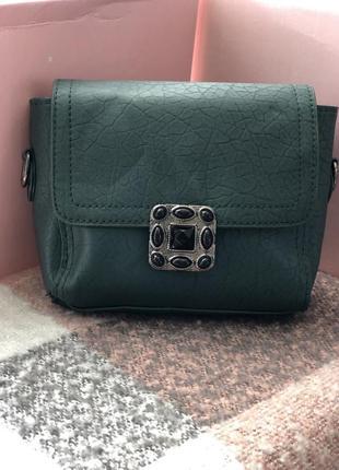 Новая маленькая сумка темно-зеленого цвета