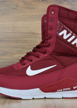 Сапоги женские зимние Nike бордовые
