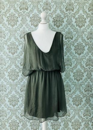 Итальянское шёлковое платье в цвете хаки