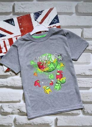 Трикотажные футболки амонг ас among us для мальчиков 7-12 лет