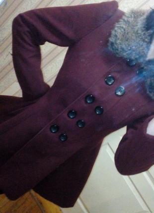 Кашемировое пальто цвет марсала