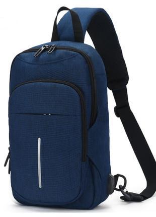 Однолямочный рюкзак Ozuko 9047 мужской городской синий 7л