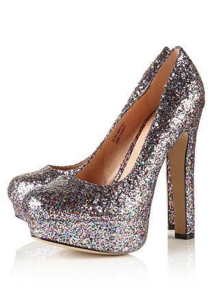 Красивые,блестящие туфли на высоком каблуке, оригинал, молниен...