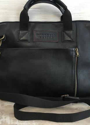 Мужской кожаный портфель для ноутбука (бумаг а4),кожаная шкіря...