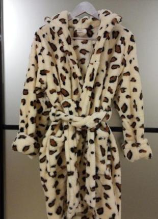 Женский махровый халат леопард,в наличии размеры