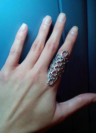Супермодное серебряное кольцо- манжетка 17 размера.