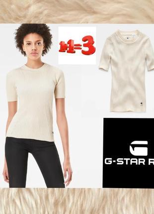 ♥1+1=3♥g-star фирменная футболка пуловер в рубчик
