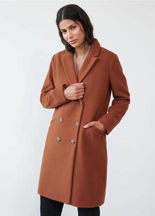 Новое пальто коричневое кэмел рыжее sinsay