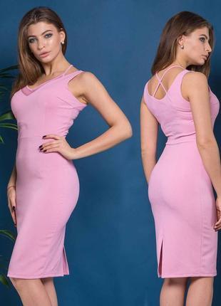Платье с сеткой дейзи розового цвета