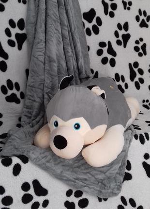 Плед с подушкой в форме большой собаки хаски