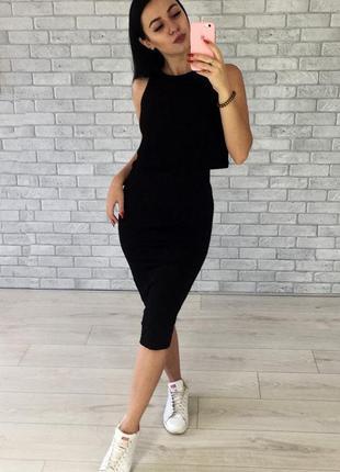 Платье женское волан черное