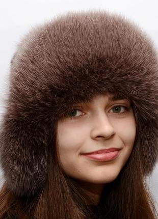 Женская меховая шапка ушанка из песца