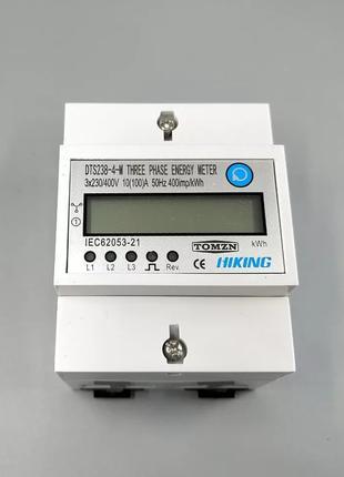 Счетчик электроэнергии трехфазный 100A на дин рейку  3X230V DIN