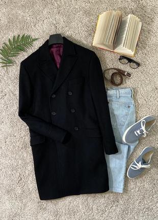 Теплое базовое шерстяное двубортное пальто #359max