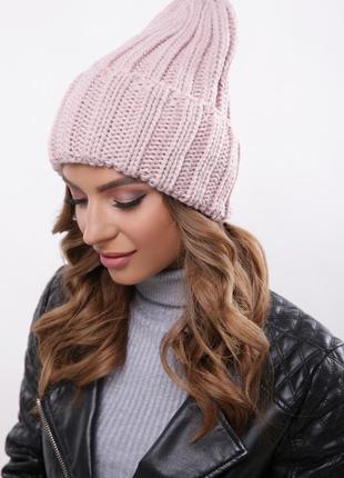 Модная вязаная шапка альвина пудра, универсальный размер!