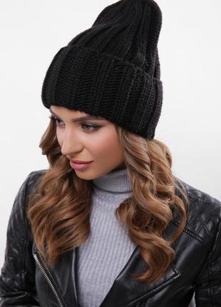 Модная вязаная шапка альвина черный, универсальный размер!