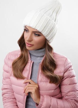 Модная вязаная шапка альвина молоко, универсальный размер!