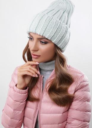 Модная вязаная шапка альвина мята, универсальный размер!