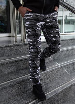Штаны мужские трикотаж камуфляж серый