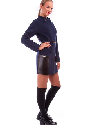 Пальто кашемировое, ровный крой, два кармана из эко-кожи, пояс...