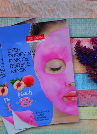 """Очищающая пенящаяся маска """"персик""""  purederm deep purifying gr..."""