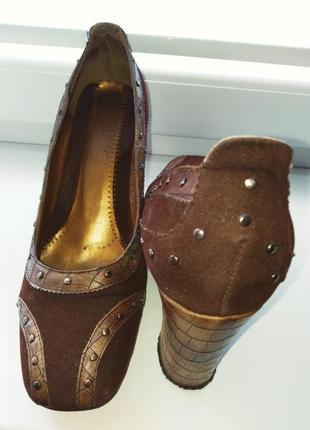 Туфли yimeizi коричневые на устойчивом каблуке, 35-36 р.