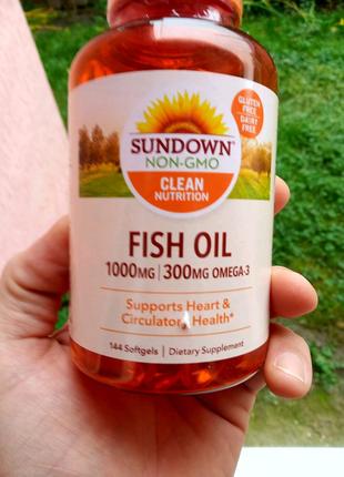 Sundown fish oil 144tab omega-3. Рыбий жир омега-3