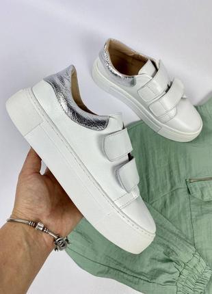 Повседневные белые кроссовки кеды на липучках, натуральная кожа