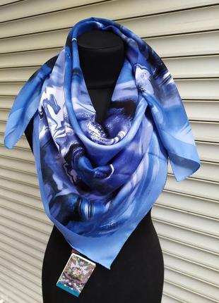 Теплый кашемировый платок турция голубой синий в наличии