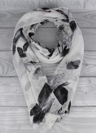 Красивый шарф, палантин butef 0008-8 черно-белый с пайетками, ...