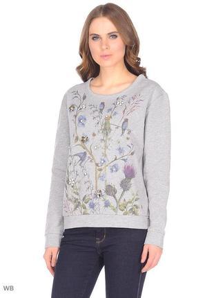 Свитшот серый толстовка с цветами и птицами tom tailor
