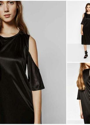 Стильное черное платье с открытыми плечами ровное от zara