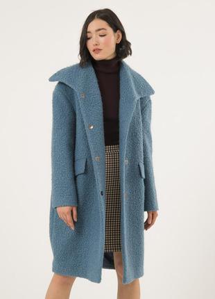 Женское шерстяное пальто season сине-серого цвета