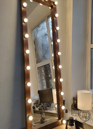 Зеркало в полный рост с лампами, массив