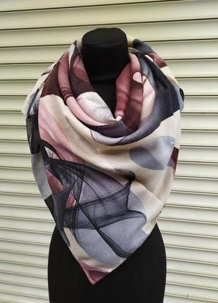 Теплый кашемировый платок турция розовый серый крем