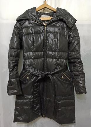 Пальто женское с капюшоном с поясом. цвет черно серый. жіноче ...
