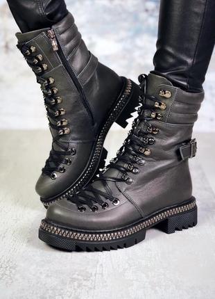 Натуральная кожа эффектные кожаные осенние/зимние ботинки на ш...