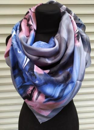 Теплый кашемировый платок турция серый синий розовый