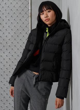 Черная спортивная короткая куртка с капюшоном пуховик superdry