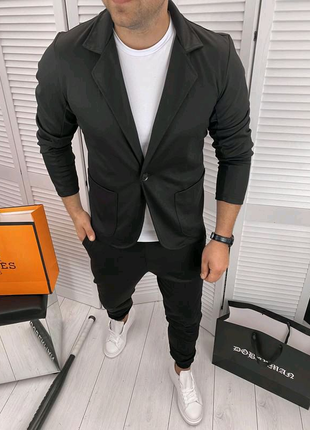 Костюм повседневный/ костюм брючный пиджак брюки р.XL