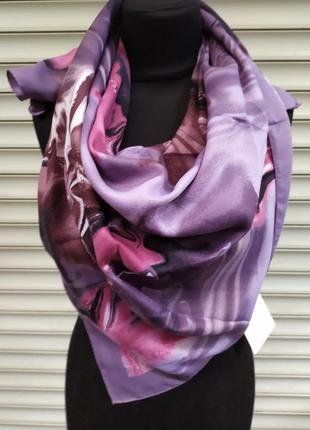 Теплый кашемировый платок турция сиреневый розовый в наличии