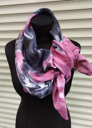 Теплый кашемировый платок турция розовый серый в наличии